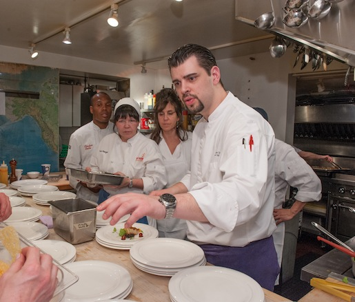 Chef Frederic Kieffer plating  in the Beard House kitchen